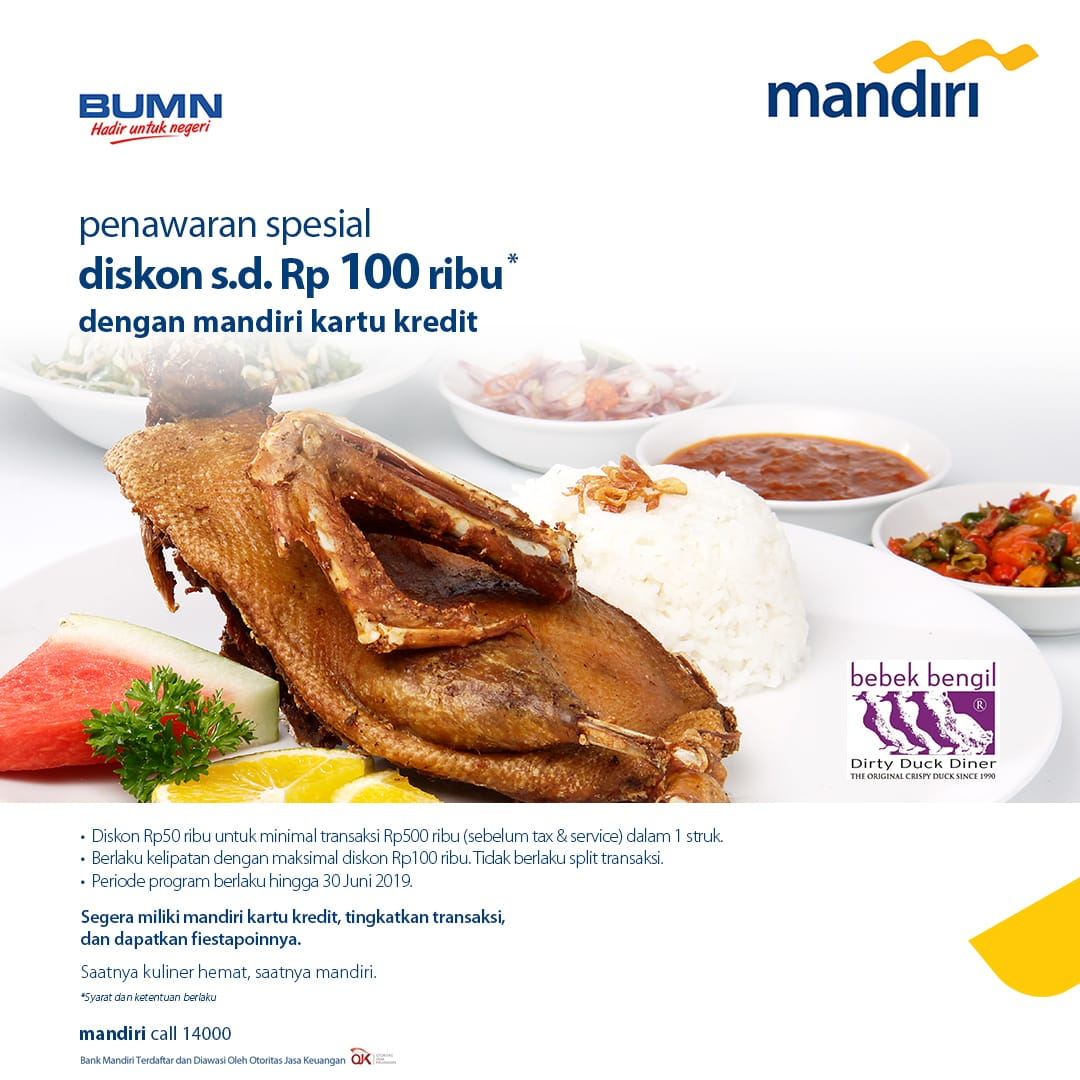 Special Offers Discount. Rp. 100 thousand with Mandiri Credit Card